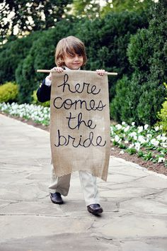 "Burlap ""here comes the bride"" sign, after the ring bearer ?  Vintage wedding ceremony chic decor for bride and groom; upcycle, recycle, salvage, diy, repurpose!  For ideas and goods shop at Estate ReSale & ReDesign, Bonita Springs, FL"