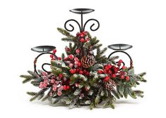 Snowy pine candleholder with red berries and pine cones on a metal form that holds 3 candles. X X 1 set of Christmas Flower Arrangements, Christmas Flowers, Christmas Table Decorations, Christmas Candles, Centerpiece Decorations, Rustic Christmas, Christmas Home, Floral Arrangements, Christmas Holidays
