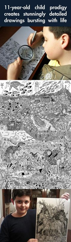 11-year-old creates stunningly detailed drawings bursting with life