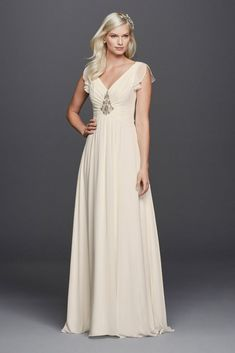 Extra Length Chiffon Aline Wedding Dress with Flutter Sleeves - Ivory, 8