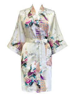 Kimono Robe (Short) - Peacock & Blossoms - White