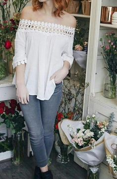White Peasant Off The Shoulder Blouse XSSMLXL... $129.99 Call To Order 239-403-3550 claudette@petuniasofnaples.com