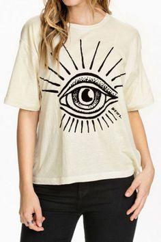White Half Sleeve Eye Print T-Shirt