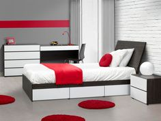 Nexera Contemporary Allure Kid's Bedroom with White and Black Wooden Bed and Racks with kids Toys