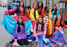Iranian Gilaki people in beautiful and colorful Gilaki traditional dresses, of Gilan Jan