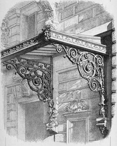 Design for a marquise at the Opéra Comique, Paris Architecture Mapping, Classic Architecture, Architecture Details, Wrought Iron Decor, Wrought Iron Gates, Window Awnings, Tuscan Design, Iron Furniture, Grill Design