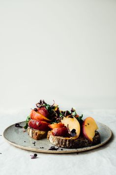 Toast with Peaches, Tahini and Honey