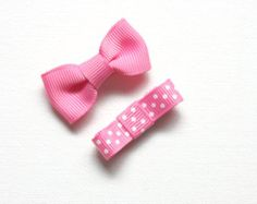 Set of 5 small bow on snap clips  pinks by Bowtifulbyamy on Etsy