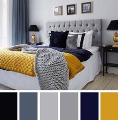 navy blue yellow and grey bedroom grey and blue decor with pop of color bedroom decor inspiration navy blue grey yellow bedroom Blue Bedroom Colors, Navy Blue Bedrooms, Colourful Bedroom, Bedroom Black, Bedroom Yellow, Mustard And Grey Bedroom, Grey Bedroom With Pop Of Color, Blue And Yellow Bedroom Ideas, Blue And Gold Bedroom