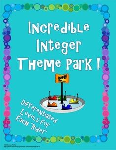 """It's the Incredible Integer Theme Park!  Integer operations review stations.  Students will practice Comparing and Ordering Integers, Add, Subtract, Multiply, Divide, Find the Blunder, and Order of Operations Integer Challenges.Each """"ride,"""" or topic consists of 4 cards. Available at the TpT store, Piece of Pi."""