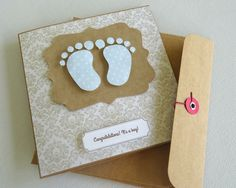 baby boy gift card. baby shower card. gift card. baby feet. newborn gift card. baby shower. gift card. handmade card. greeting card - pinned by pin4etsy.com