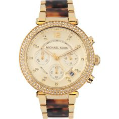 Michael Kors Parker MK5688 watch ($285) ❤ liked on Polyvore featuring jewelry, watches, accessories, round watches, michael kors, analog watches, tortoise shell watches and michael kors watches