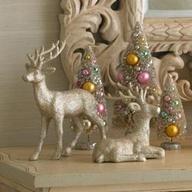 Bottle brush trees and glitter reindeer.