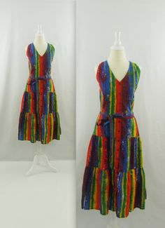 Carribean Escape Midi Summer Dress  Vintage 1980s by TwoMoxie