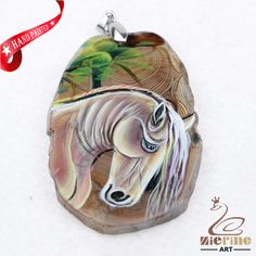HAND PAINTED HORSE AGATE SLICE GEMSTONE NECKLACE PENDANT JEWLERY D1705 0863 #ZL #PENDANT