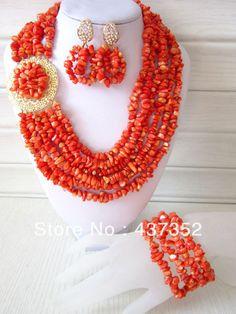 Marvelous African Nigerian Wedding Orange Coral Beads Jewelry Set Bridal Necklace Bracelet Clip Earrings CWS-126