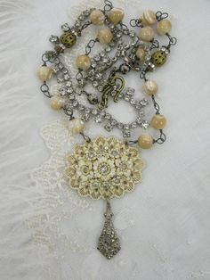 Shabby Chic Necklace by TresChicTresor on Etsy, $135.00