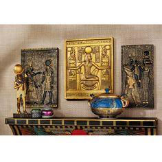 "3 Piece Egyptian Temple Stele Tutankhamen, Isis and Horus Wall Decor Set by Design Toscano. Shop Wayfair.ca Horus:10""Hx7""W;  Tutankhamen:10""Hx8""W; Isis:10""Hx5""W"
