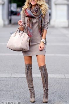 How you can form within the joint boots, over the knee boots outfit inspiring ideas, plunge fashion, winter fashion. over the knee boot outfit Fall Winter Outfits, Autumn Winter Fashion, Winter Style, Look Fashion, Womens Fashion, Fashion Trends, Street Fashion, Casual Chique, Moda Plus Size