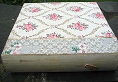 Vintage wallpapered index file box floral by LittleBeachDesigns, $32.00