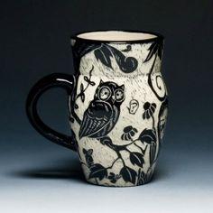 """Interpreting the cup"" - Process, Influence and Intent. Ceramic Decor, Ceramic Cups, Ceramic Art, Pottery Mugs, Ceramic Pottery, Pottery Art, Owl Mug, Pottery Designs, Pottery Ideas"