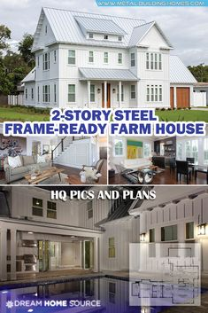 Who says a farm house can't be a grand luxury home? This model house is magical. When you say modern and minimalistic, you automatically think of black and white Metal Building House Plans, Pole Barn House Plans, Pole Barn Homes, Barn Plans, Steel Frame House, Steel House, Home Office, House Plans 2 Story, Pole House