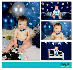 Look who's one! Seriously, how cute is this little man?! Calgary cake smash, Calgary cake smash photographer, Calgary baby photographer, baby photography Calgary, Calgary newborn photographer, cake smash, one year old, first birthday, little prince birthday, little prince cake smash, blue, silver and gold, stars, balloons, boy cake smash ideas, first birthday pictures