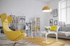 Mellow Yellow: 7 Soothing Apartments with Sunny Accents Yellow Armchair, Home Decor Quotes, Swinging Chair, Living Room Pictures, Mellow Yellow, Grey Yellow, Modern Decor, Living Area, Living Room Designs