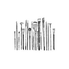 River City Rubber Works: Row of Paintbrushes Paintbrush Tattoo, Black N White Images, Black And White, Tool Tattoo, Tatuagem Old School, Background Drawing, Paint Brushes, Les Oeuvres, Book Art