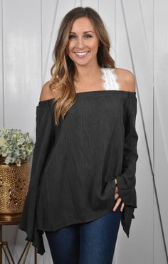 Charcoal Bell Sleeve Top | Lane 201 Boutique
