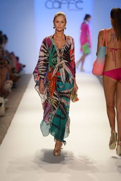A model walks the runway at the Caffe Swimwear show during Mercedes-Benz Fashion Week Swim 2013 at The Raleigh on July Kimono Fashion, Fashion Outfits, Womens Fashion, Accessorize Fashion, Elegant Midi Dresses, Beachwear, Swimwear, Summer Looks, African Fashion