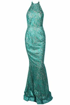 Honey Couture MELISA Silver  Green Low Back Sequin Formal Gown Dress