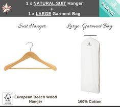 Do you have a favourite garment or gown you wish to protect, store or travel with?   This is for you!  The Kazzi Kovers Large Garment Bag and Natural European German Beech Wood Suit/Dress Hanger  is an all-in-one package purposed for safeguarding your everyday, occasional, seasonal and one-off pieces. Including your long coats, wedding dress, gowns, vintage clothing, silks, costumes, heirlooms and more.   FSC® Certified European German Beech Wood Hanger.