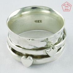 Double Hearted Design 925 Sterling Silver Jewelry Ring R4714, Sz.9 US #SilvexImagesIndiaPvtLtd #Spinner #AllOccasions