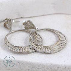 950 Sterling Silver Filigree Hoop Dangle 9g Post Earrings ZQ4852 | eBay