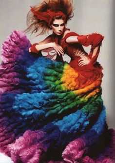Eugenia Volodina wearing Alexander McQueen Spring 2003 rainbow dress shot by Steven Meisel for Vogue Italia 2003 Steven Meisel, Taste The Rainbow, Over The Rainbow, Rainbow Things, Rainbow Stuff, Rainbow River, Rainbow Dance, Rainbow Rocks, Rainbow Crafts