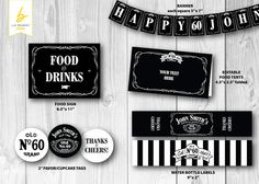 Jack Daniels Inspired - Personalized Printable Party Pack - Including Favor/Cupcake Tags, Banner, Water Bottle Labels, Food Tents & Sign