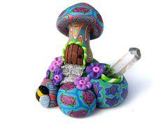 Mushroom fairy house with quartz point, millefiori patterns, polymer clay, fairy door, miniature house, fantasy mushroom house, colorful