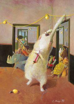 Art et Cancrelats: Eva Muggenthaler Fantasy Paintings, Fantasy Art, Fantasy Illustration, Animal Party, Mythology, Childrens Books, Witch, Awesome, Random Stuff