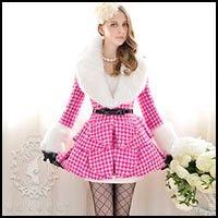 Rose Houndstooth Fur Wool Coat