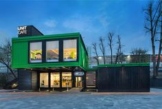 TSEH transforms 14 shipping containers into a cozy and modern Kiev cafe