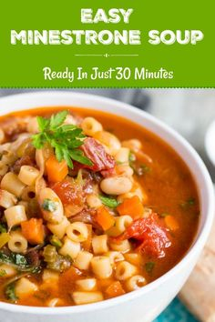 Minestrone Soup is ready in 30 minutes, and freezes well. This minestrone soup also is easy to reheat, so is a quick meal to make in advance. Quick Meals To Make, Cheesy Potato Soup, Healthy Soup Recipes, Medeteranian Recipes, Curry Recipes, Fall Recipes, Healthy Meals, Sweet Recipes, Vegetarian Recipes