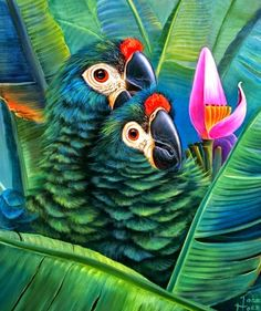 'Macaws with Flowers and Fruits' - Oil Painting on Canvas of Colorful, Exotic Birds by Jose Moreno Aparicio Bird Canvas, Mini Canvas Art, Parrot Image, Jungle Flowers, Jungle Art, Bird Artwork, Tropical Art, Cross Paintings, Oil Painting On Canvas