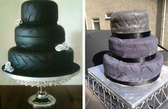 Bride Gets Wedding Cake Revenge on eBay (cake on left is what she wanted - cake on right is what she got).