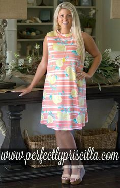 When Life Gives You Lemons Print Dress - Coral fcca05146