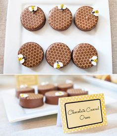 Continuing the honeybee theme with decorated chocolate covered oreos decked out with a honeycomb pattern and tiny sugar bees