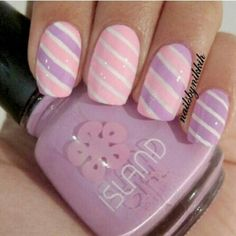 Pink and purple nails- the stripes hair&beauty nail art stri Fabulous Nails, Gorgeous Nails, Love Nails, Nail Art Stripes, Striped Nails, Candy Stripes, Pink Stripes, Purple Nails, Pink Purple