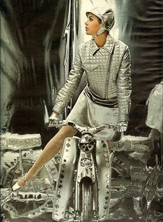 Colleen Corby, space age fashions, 1967 style vintage 60s silver jacket skirt bike hat helmet gloves designer couture color photo print ad model magazine