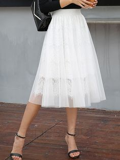 Mesh Patchwork Lace Mid-Calf Skirt