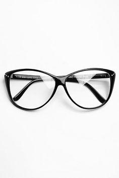 Cat Eye Oversized Rhinestone Clear Glasses - Black - 2886-1